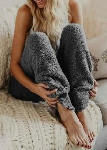 Women's Dark Gray Loose Plush Wide Leg Pants Reversible Fleece Casual Trousers