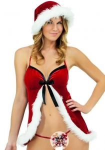 Sexy halterneck cardigan Christmas Lingerie Set