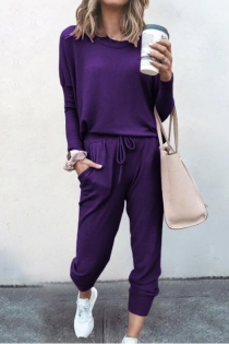 Loose solid purple color long-sleeved casual suit