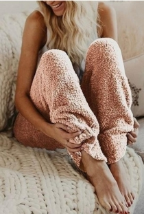 Women's Pink Loose Plush Wide Leg Pants Reversible Fleece Casual Trousers