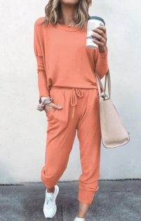 Loose solid orange color long-sleeved casual suit