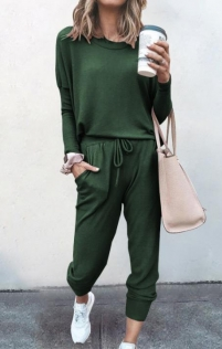 Loose solid dark green color long-sleeved casual suit