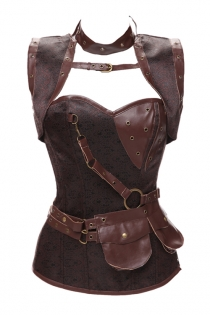 Gothic Women Vintage Waist Bustier Steel Boned Steampunk Jacket Corset With Belt, Brown