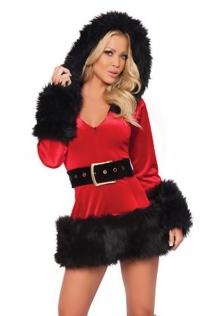 Red Christmas Dress With Black Fur Trim