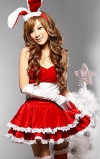 Red Bunny Christmas Lingerie Dress