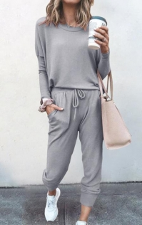 Loose solid light gray color long-sleeved casual suit