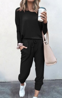 Loose solid Black color long-sleeved casual suit