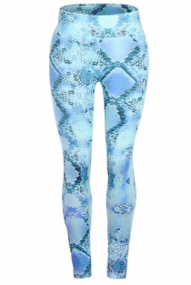 Blue slimming snake print yoga pants
