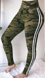 Army green camo slim-fit yoga pants