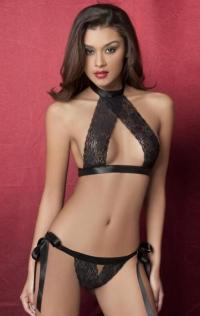 Black Halter Lace Bow Bralette Panties Set