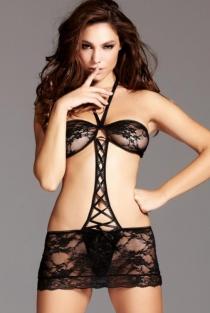 Sexy black lace mesh bodysuit