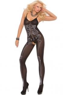 Halloween skull print body stockings