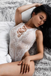 White lace see-through one-piece teddy with hollow back