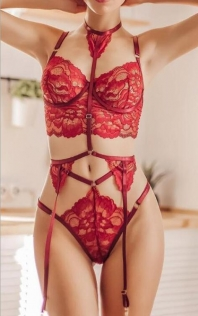 Red sexy lace tie three-point set