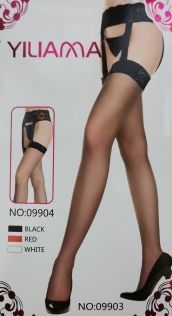 Sheer Nude Thigh-High Stockings With Shadow Welts and Attached Lacy Garter Belt With Criss-Crossing Stays