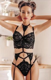 Black sexy lace tie three-point set