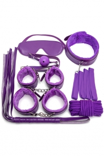 Purple 7PCS Neck Collar Hand Cuff Wrist Bondage Set Body BDSM Restraint Harness Slave Game