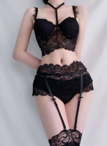 Black lace overlay bralette with Garters set